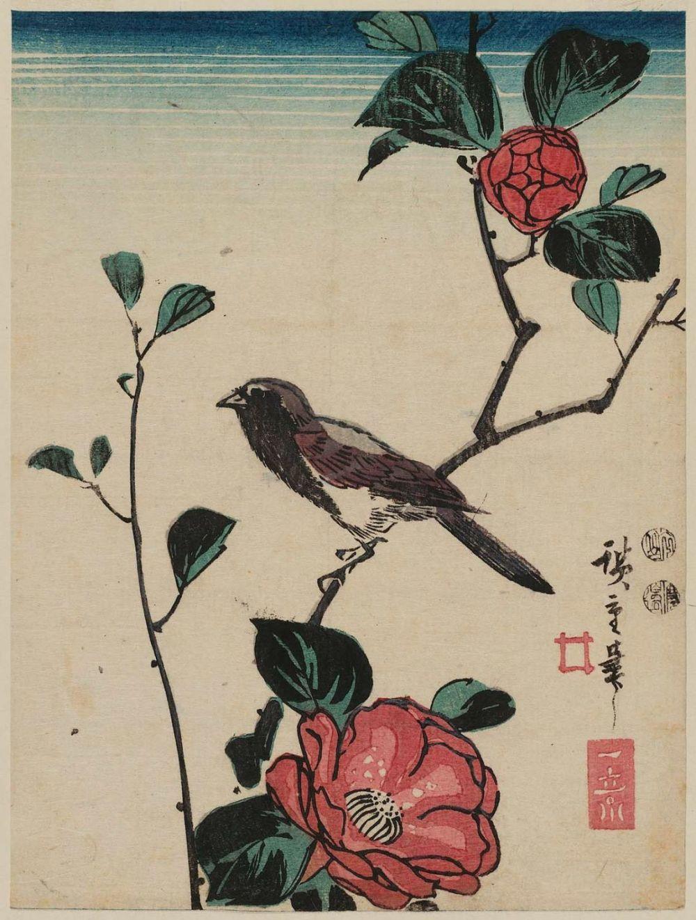 Utagawa Hiroshige- Bird on Camellia Branch jpg